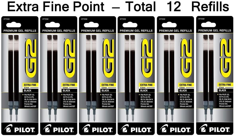 Pilot G2 Gel Ink Refill for Rolling Ball Pens, Extra Fine Point, Black Ink (PIL77232-6PACKS)