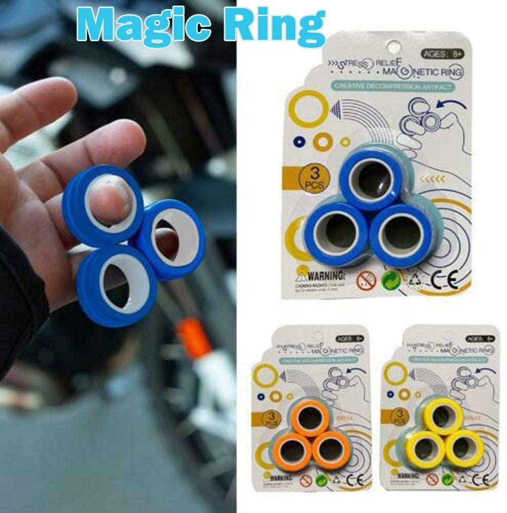 Stress Relief Magnetic Finger Spinner Rings Fidget Spinner Rings Magnetic Bracelet Ring Unzip Toy Magic Ring Props Tools Decompression Toys (3PC)