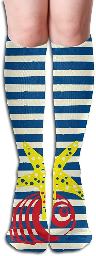 TO-JP Traveling Long Sports Socks Blue Stripe-Starfish-shell Dresses Knee Thighs Stockings.