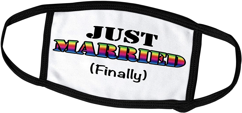 3dRose LGBTQ Wedding - Just Married Finally Rainbow - Face Masks (fm_261086_1)