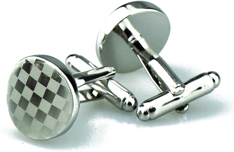 KnSam Cufflink Set Copper Cufflinks Silver Round Square
