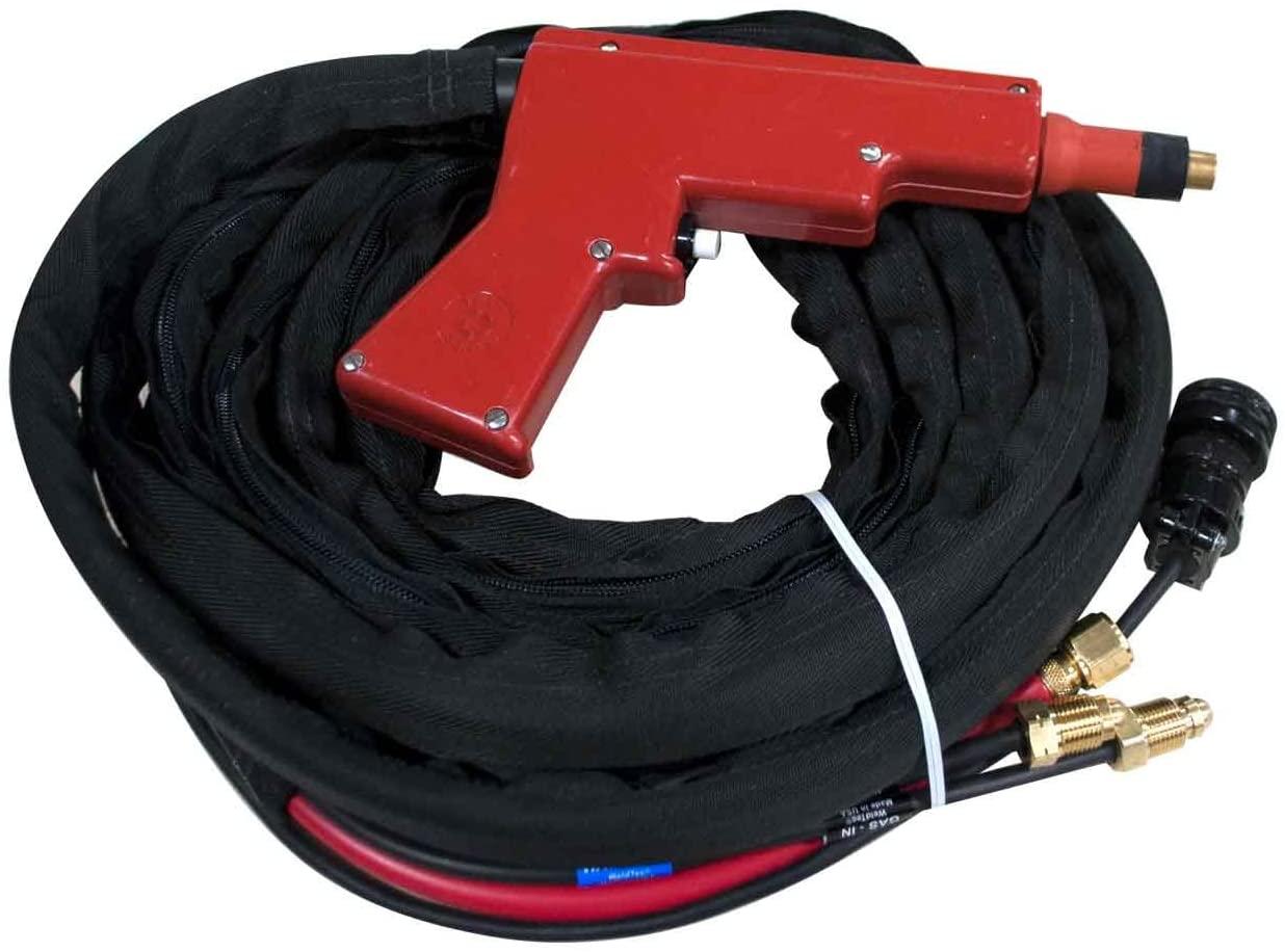 Weldtec TEC 5000-25L6 Water-Cooled TIG Spot Gun Assembly, 25' (Lincoln 6 Pin Plug)