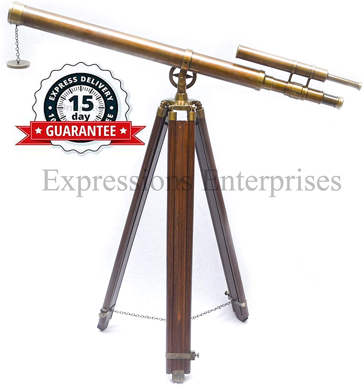 Expressions Enterprises Brass Double Barrel Telescope Antique Finish Maritime Telescope On Tripod Life Size Spyglass 37
