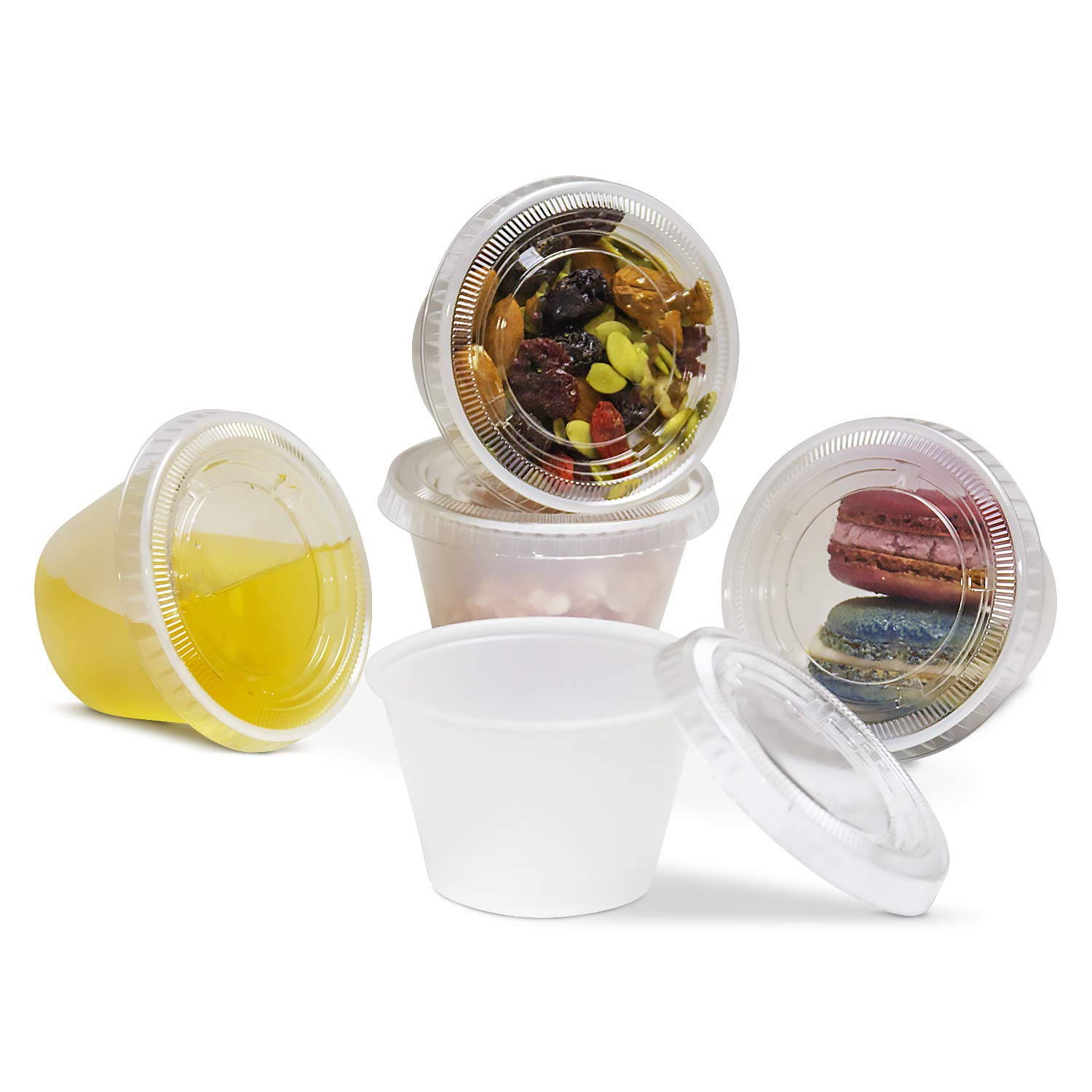[250 Pack] 4 oz Plastic Containers with Lids - Clear Jello Shot Cups, Mini Portion Cup BPA Free for Sauce, Condiments, Souffle, Salad Dressing, Sushi, Medicine or Slime, Disposable Reusable Packaging