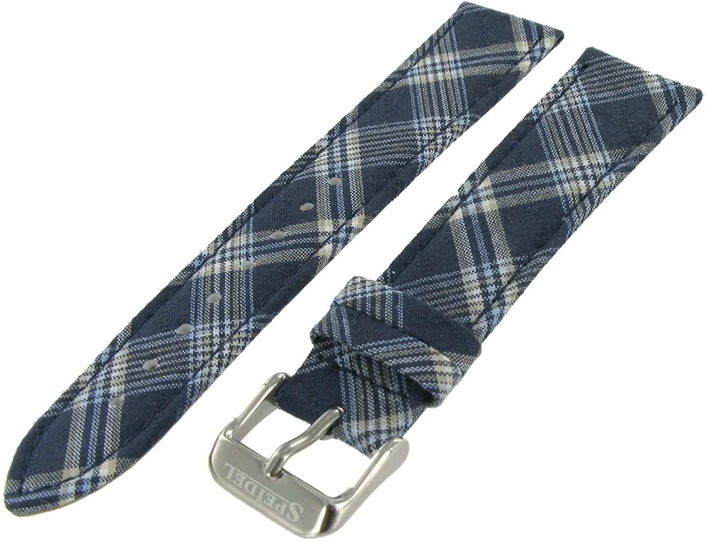 20mm Speidel Blue Plaid Textile Genuine Leather Pad Stitched Watch Band Strap