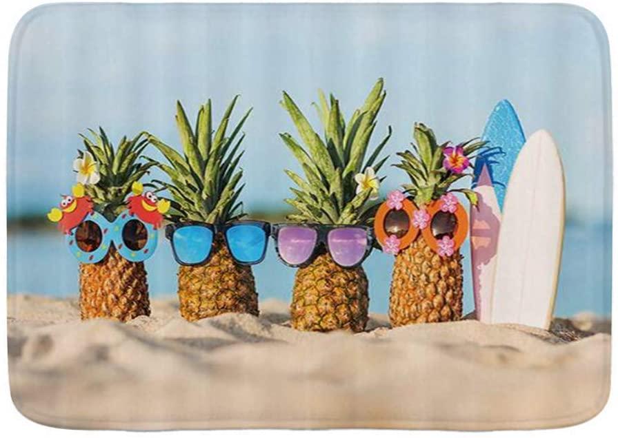 WINCAN Bath Mat Rug,Summer Beach Landscape Hippie Pineapple Wearing Sunglasses,Plush Bathroom Decor Mats with Non Slip Backing,29.5