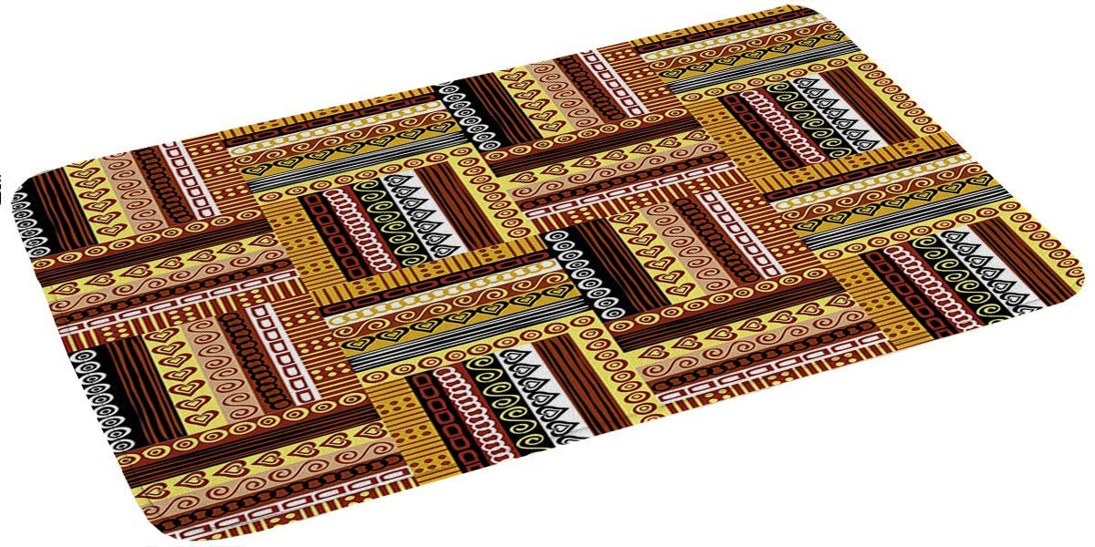 Memory Foam Bath Mats 16x24,Traditional African Oriental Motifs with Tribal Colors Nigerian Culture Elements Non Slip Absorbent Bathroom Rugs Rubber Back Runner Mat for Kitchen Bathroom Floors