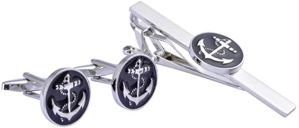Anchor USN Pair Cufflinks Round Set Tie Clips Clasp and Cufflinks Party Gift