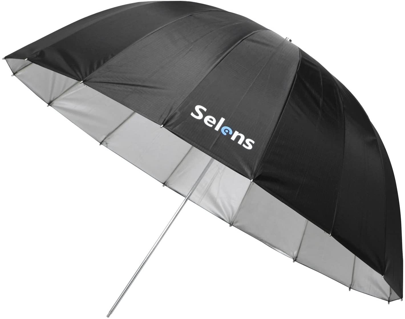 Selens 41 Inch 16 Rods Professional Photography Photo Studio Parabolic Reflective Lighting Umbrella, 15 Inch Depth Black/Silver