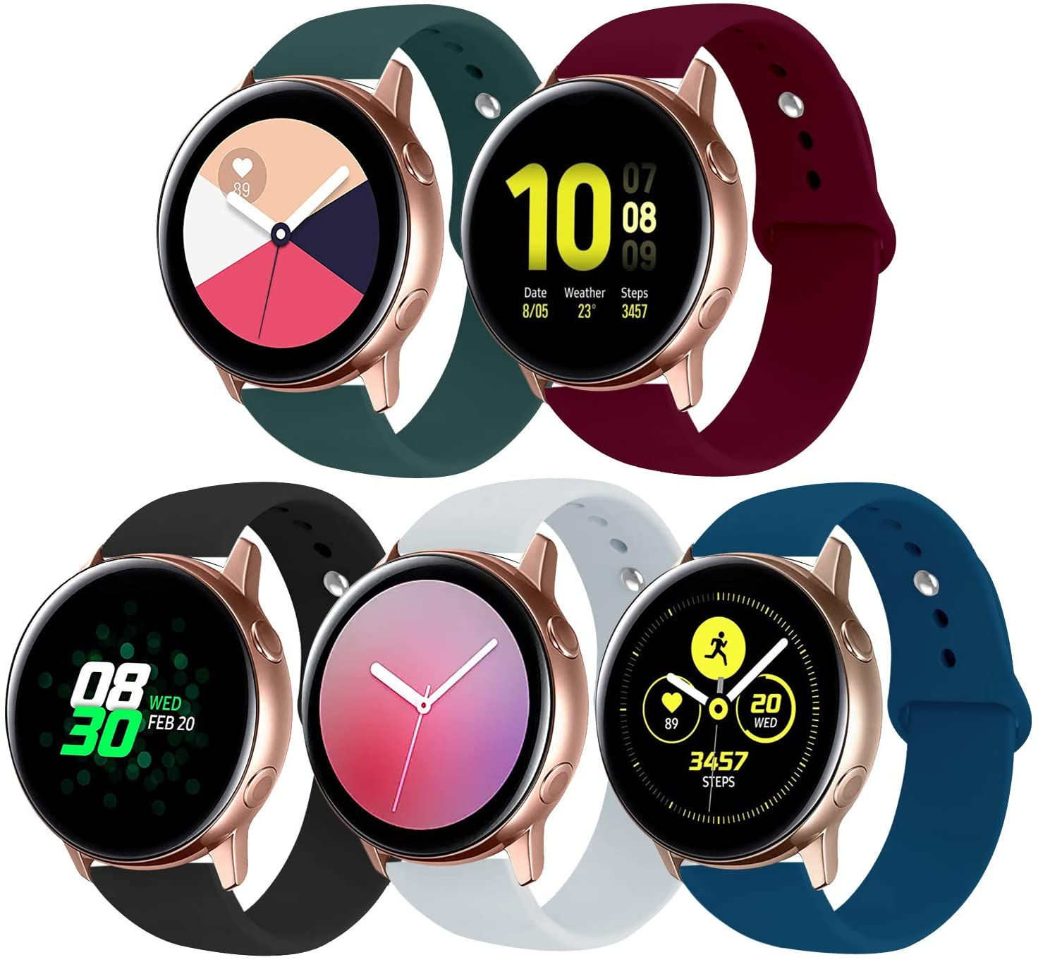 SunZu Compatible for Galaxy Watch Band 20mm Soft Silicone Replacement Bands,Compatible for Galaxy Watch 42mm, Galaxy Watch Active 40mm, Galaxy Watch Active 2 40mm 44mm, Women Men