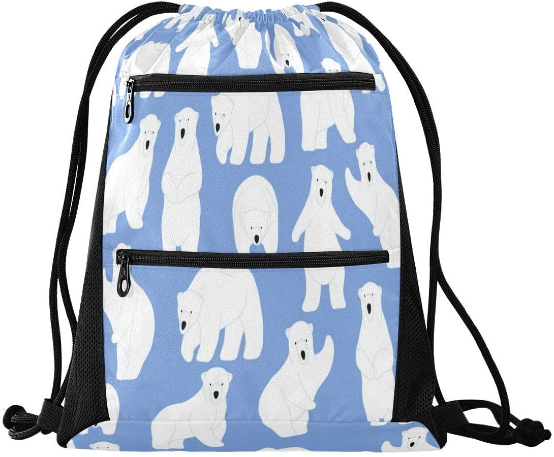 Drawstring Backpack Sport Gym Sackpack - Write Bear In Blue Drawstring Bag with Zipper Pocket Cinch Sport Bag Sport Backpack for Hiking Dance