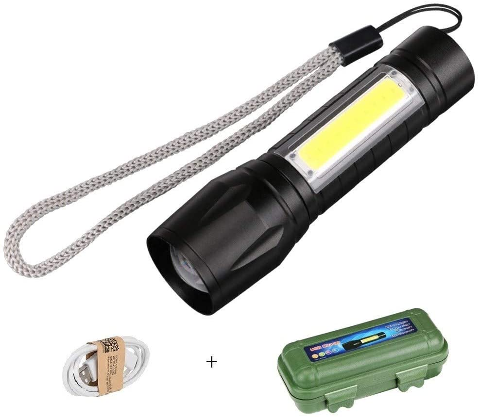 Flashlight, Black Portable LED Flashlight COB + XPE Tactical Torch Zoomable Focus Flashlights 3/4 Modes Waterproof Work Light Emergency Lanterna For Field (Emitting Color : 3 Modes)