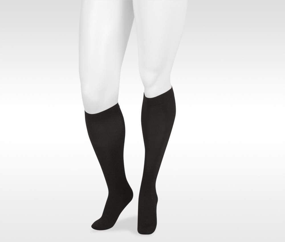 Juzo Basic Ribbed Knee High 30-40mmHg Closed Toe, II, Black