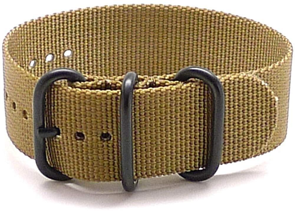 DaLuca Ballistic Nylon Military 1 Piece Watch Strap - Sand (PVD Buckle) : 24mm