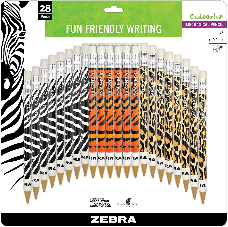 Zebra Pen Cadoozles Mechanical Pencil, 0.9mm Point Size, Standard HB Lead, Assorted Animals Barrel Patterns, 28-Count