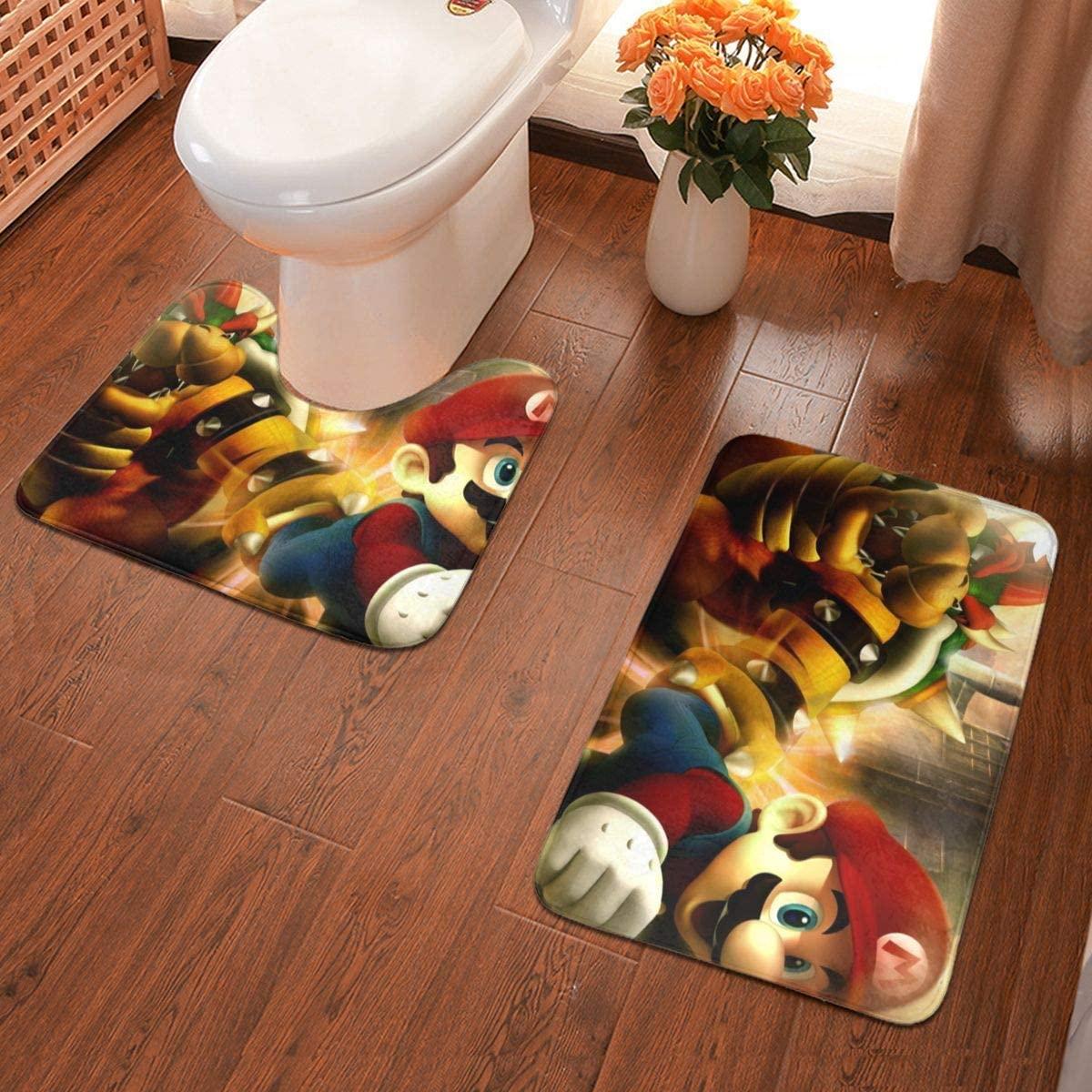 Boweike Mario Bathroom Antiskid Pad Non-Slip Bath Carpet Floor Mat Rug 2 Sets -Floor Mat+U-Shaped Pad, Toilet Washable Blanket Mats for Bathroom Home Shower
