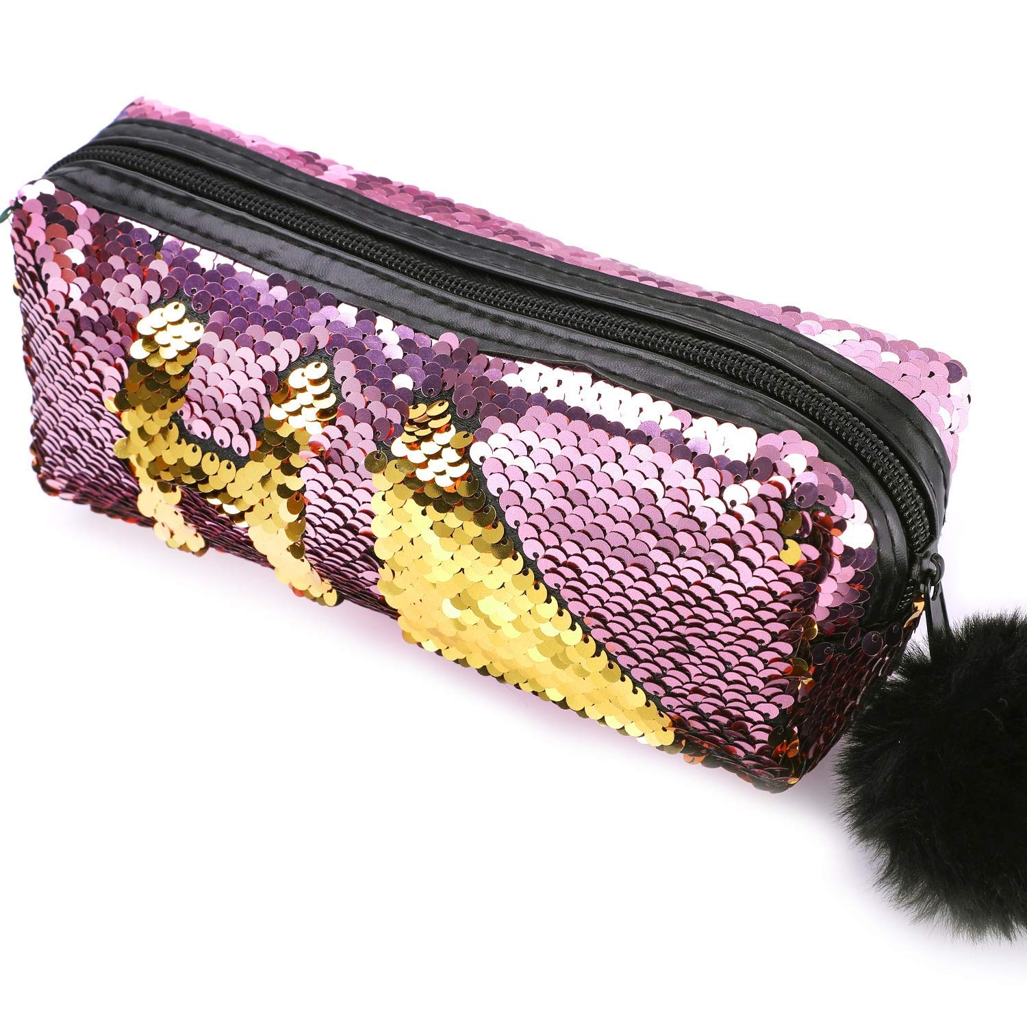 Glitter Cosmetic Bag Mermaid Spiral Reversible Sequins Portable Double Color Students Pencil Case for Girls Women Handbag Purse Make Up Pouch with Pompon Zip Closure(Gold+Pink)