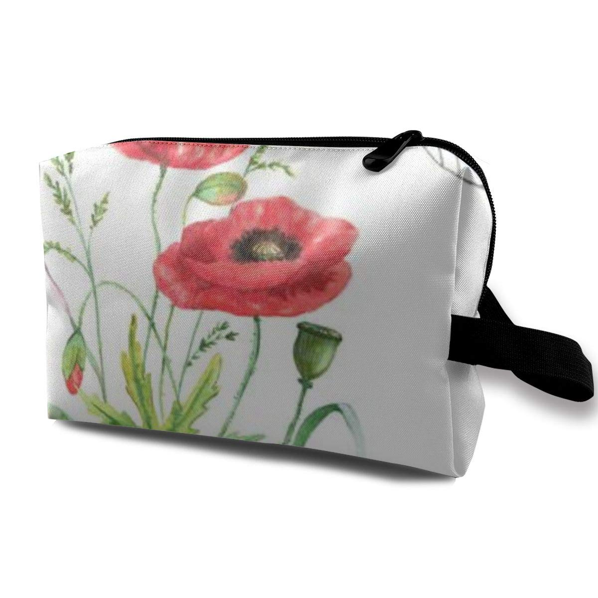 Makeup Bag Cosmetic Pouch Red Summer Poppy Flower Dragonfly Multi-Functional Bag Travel Kit Storage Bag