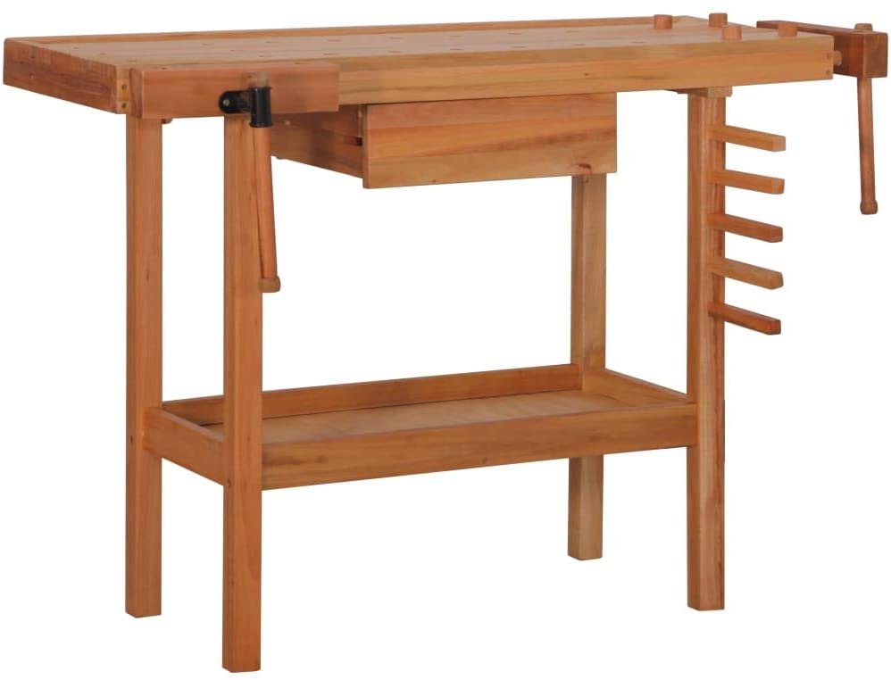 vidaXL Carpentry Work Bench with Drawer 2 Vises Hardwood,for keeping your tools well organised and within reach,large and stable,work surface, you can efficiently work on even larger workpieces