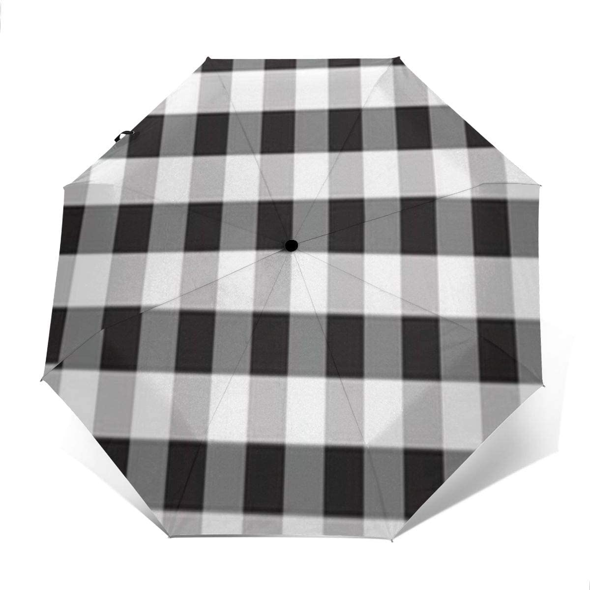 Speed FQ Buffalo Plaid Black and White Folding Umbrella Travel Fashion Automatic Umbrella