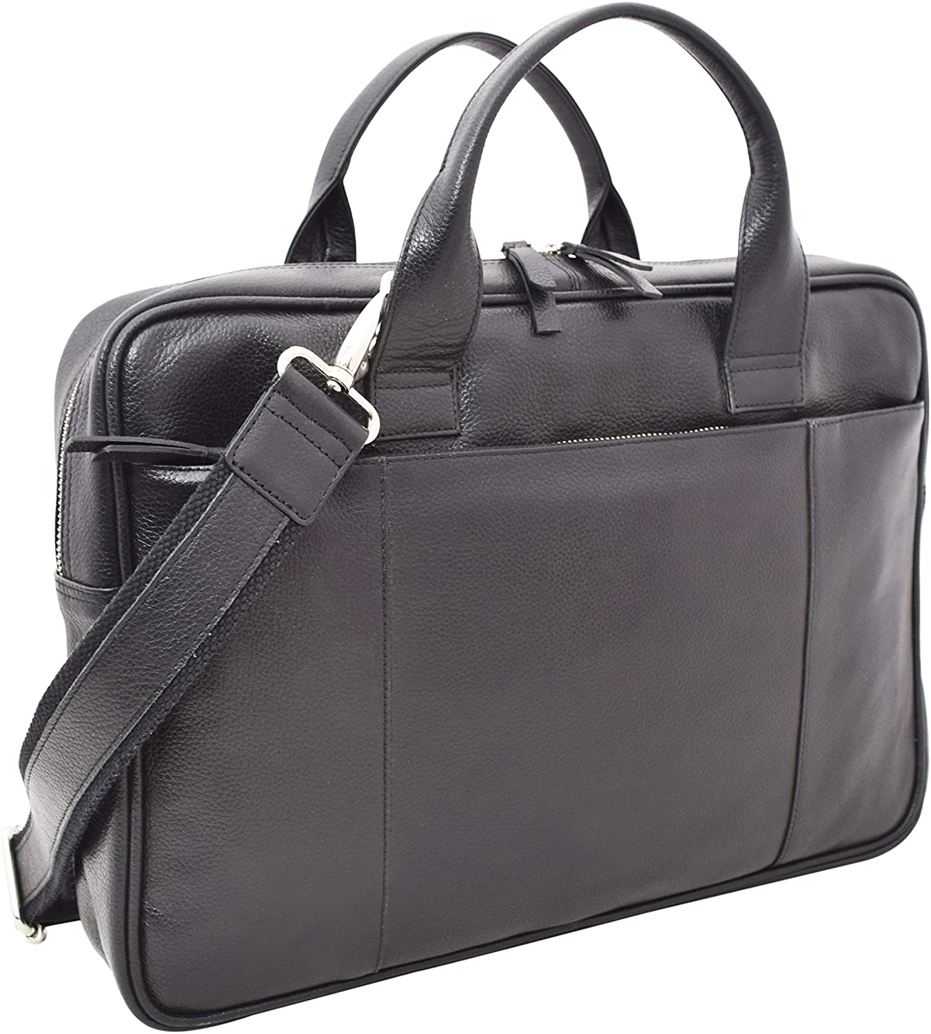 Men's Slim Leather Briefcase with Laptop Sleeve 15L x11H x 2.5W inches Black V-élan
