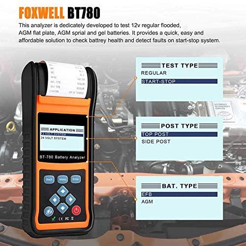 SHIJING BT780 12V Battery Tester 0-1000A Car Gel EBP Batteries Analyzer Built-in Printer 12V-24V Starting Charging System