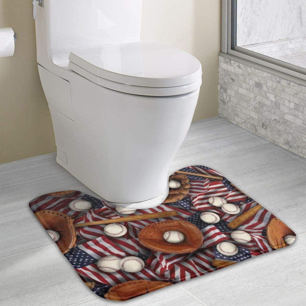 Bathroom Rug, Baseballs U-Shaped Non Slip Absorbent Toilet Bath Floor Contour Doormat Shower Mat Carpet 19.3 X 15.7 Inch