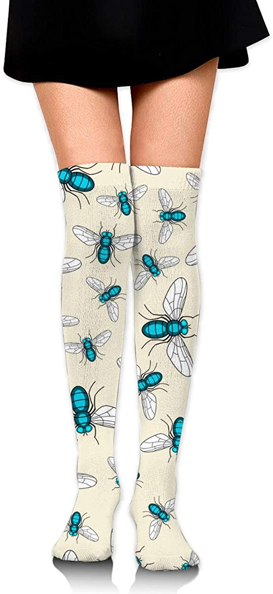 Fly Insect Pattern Women Knee High Socks Thigh Long Tube Stockings