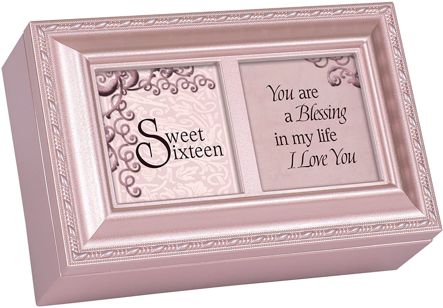 Cottage Garden Sweet Sixteen You are a Blessing Matte Pink Jewelry Music Box Plays You Light Up My Life
