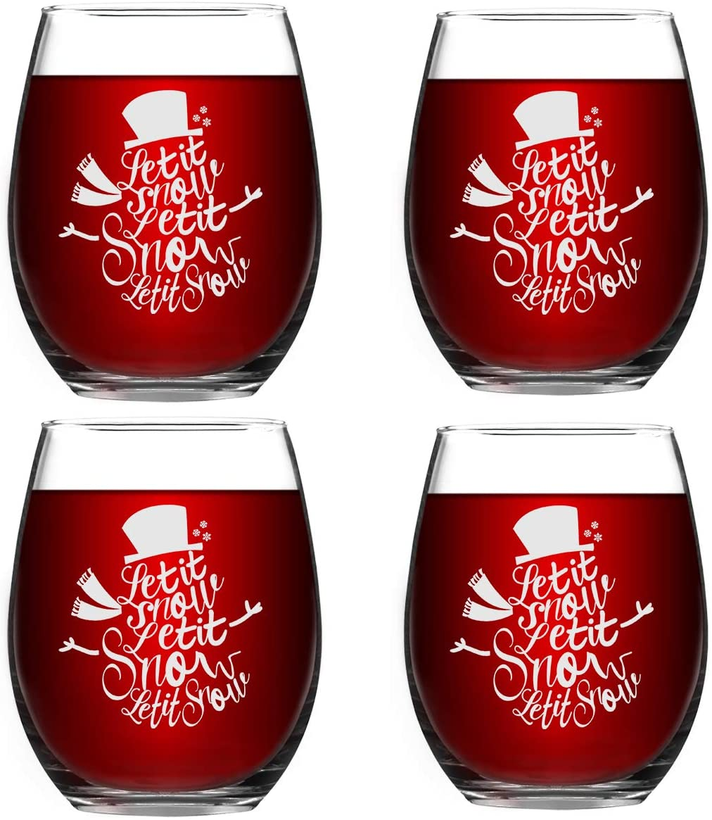 Set of 4 Let It Snow Christmas Wine Glass Novelty Snowman Decoration Stemless Wine Glass Perfect Party Unique Christmas New Year Holiday Gifts for Family Friends Wine Lover or Daily Use 15 Ounce