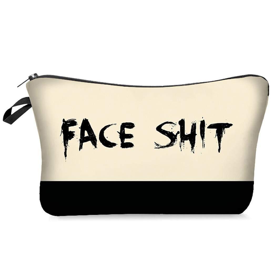 Isopeen Makeup Bag Travel Cosmetic Organizer Letters Prints Bags Cosmetic Bags
