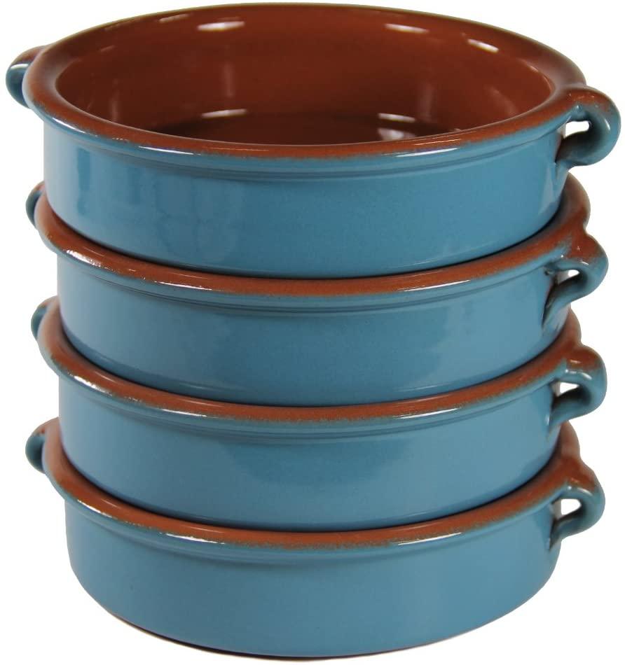 Mediterranean Blue Terra Cotta Cazuelas, Round - 6 Inch (4 Dishes)