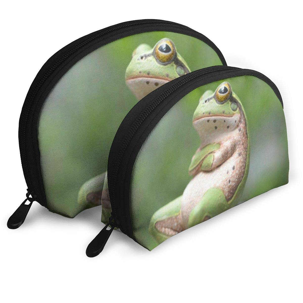 Half Moon Cosmetic Beauty Bag,A Frog Relaxes On A Rock Handy Cosmetic Pouch Clutch Makeup Bag For Women Girls