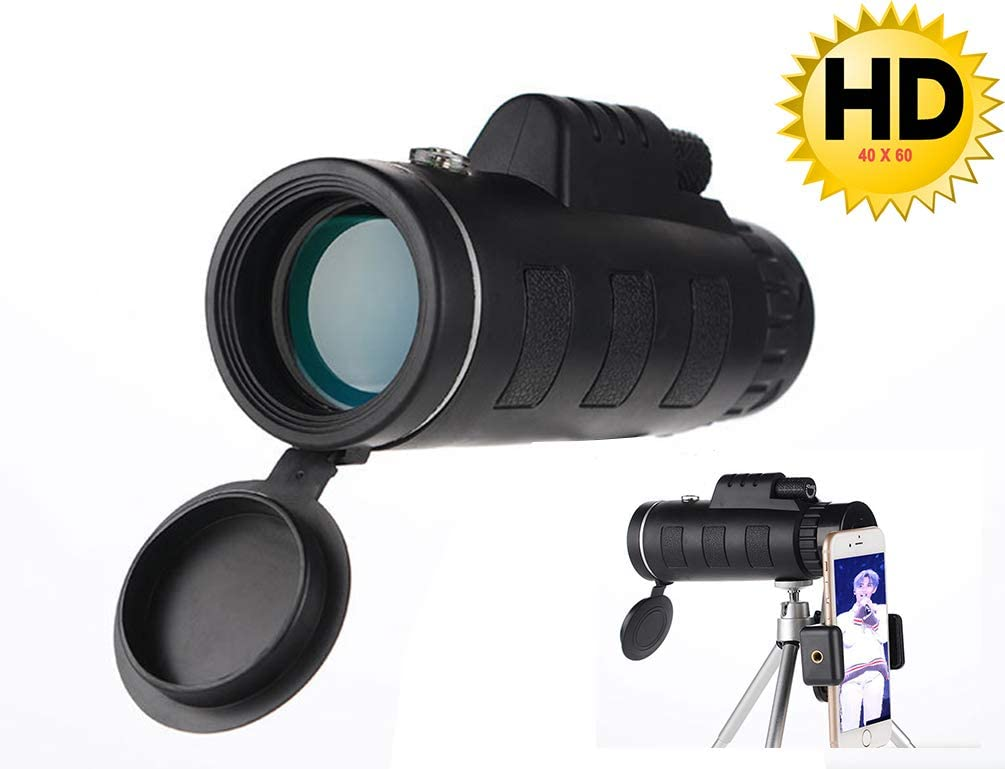 Monocular Telescope, 40X60 HD Monocular Binoculars with Smartphone Holder & Tripod Prism for Bird Watching, Hunting, Surveillance, Hiking (Black 1)