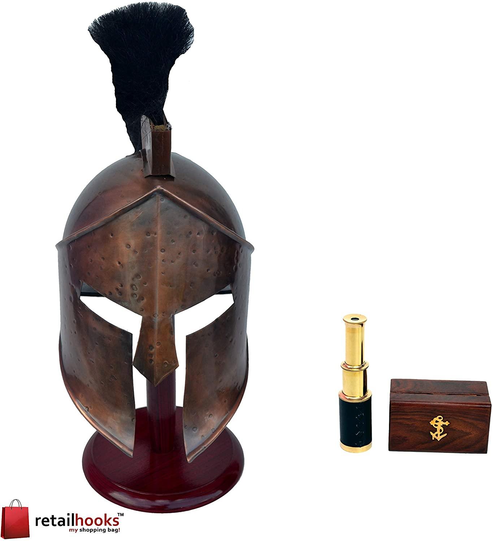 300 Spartan Medieval King Leonidas Armor Helmet with Free Brass Telescope Or Spyglass Handheld Telescope W/Wooden Box
