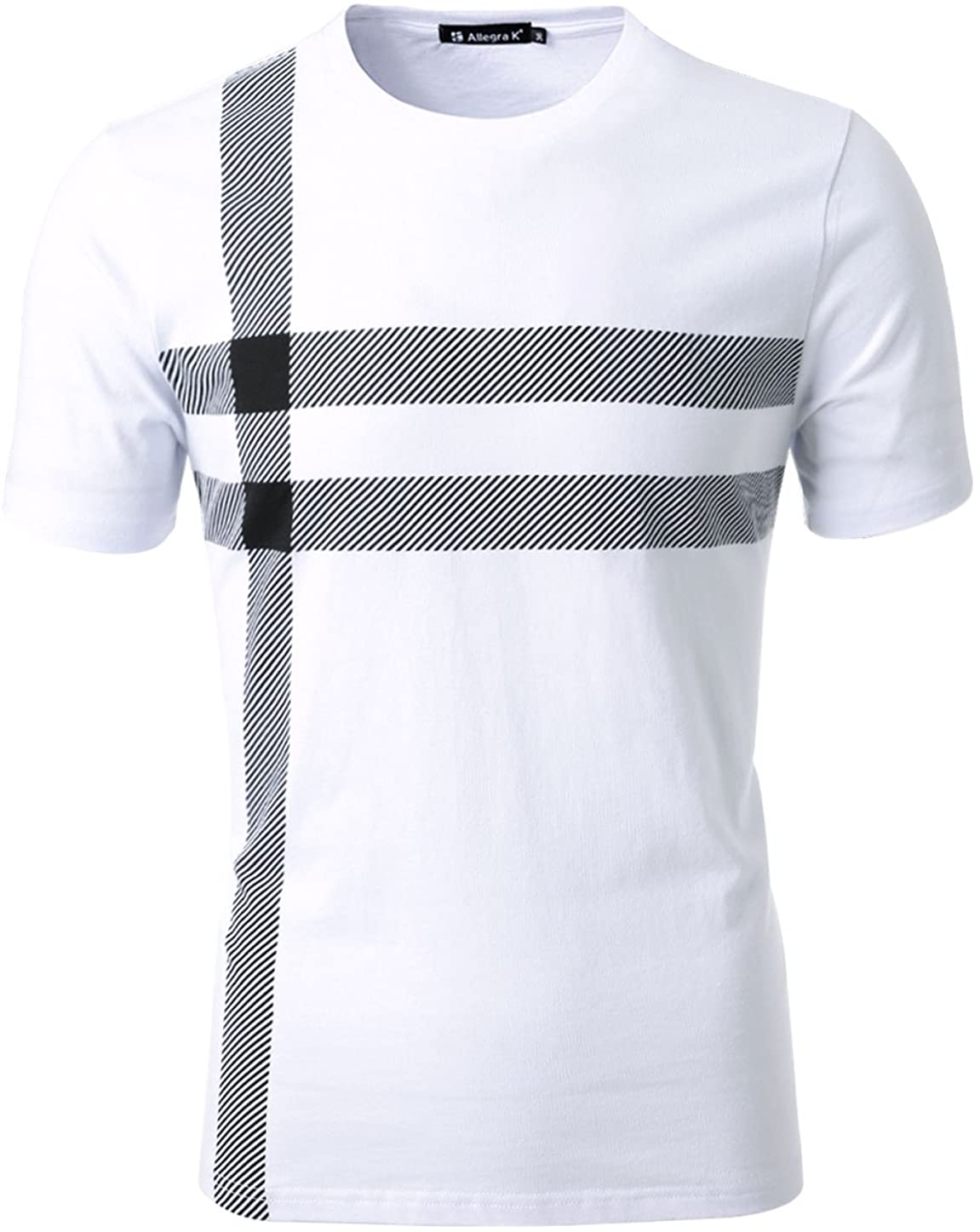 uxcell Men Casual T Shirt Short Sleeves Striped Crew Neck Tee