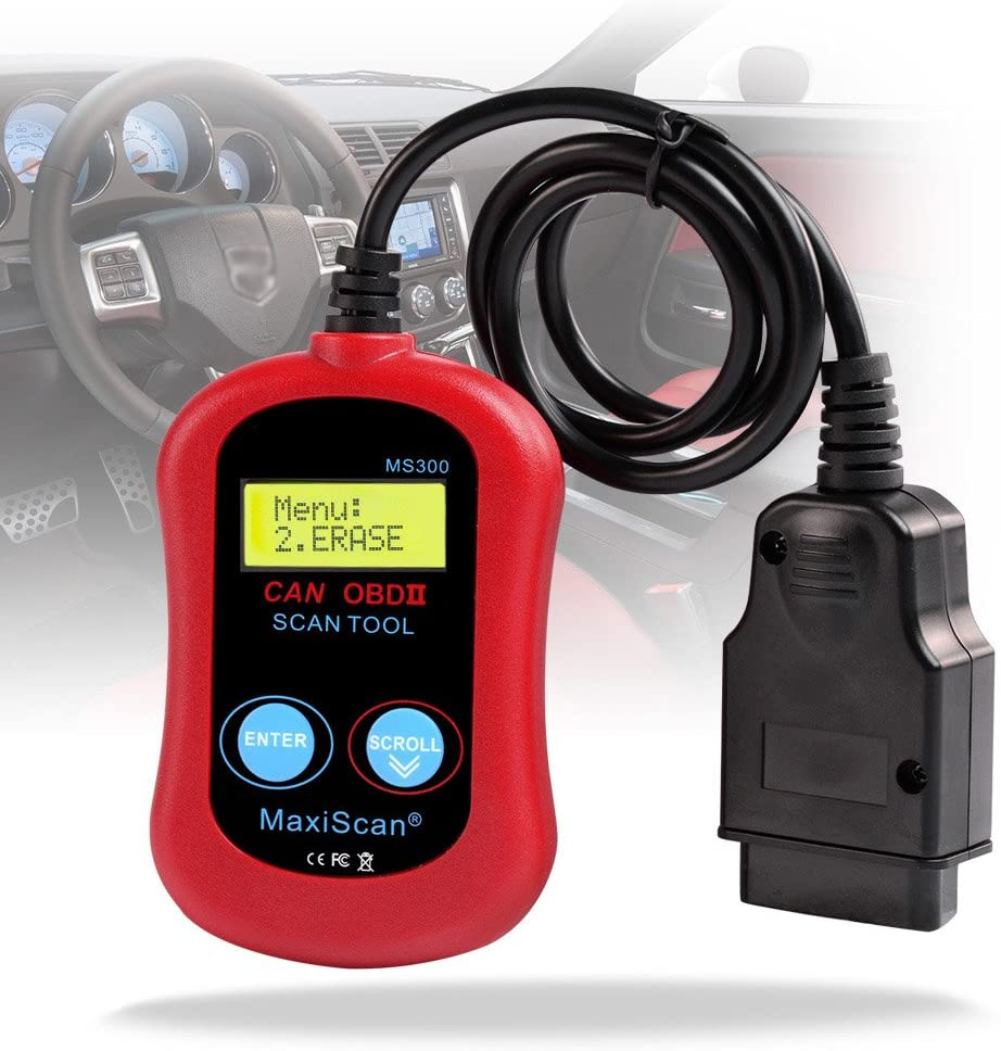 G-PLUS MaxiScan MS300 OBD2 OBDII Scanner Code Reader Turn Off Check Engine Light Read & Erase Fault Codes Check Emission Monitor Status CAN Diagnostic Scan Tool