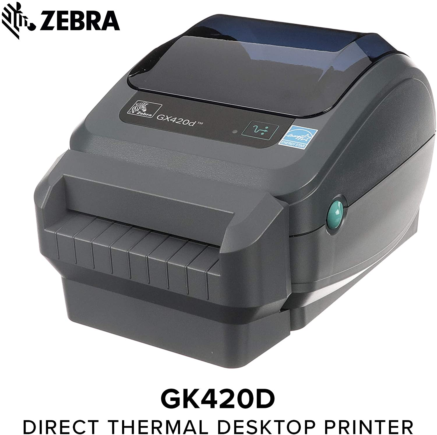 Zebra - GX420d Direct Thermal Desktop Printer for Labels, Receipts, Barcodes, Tags, and Wrist Bands - Print Width of 4 in - USB, Serial, and Ethernet Port Connectivity (Includes Cutter) (Renewed)