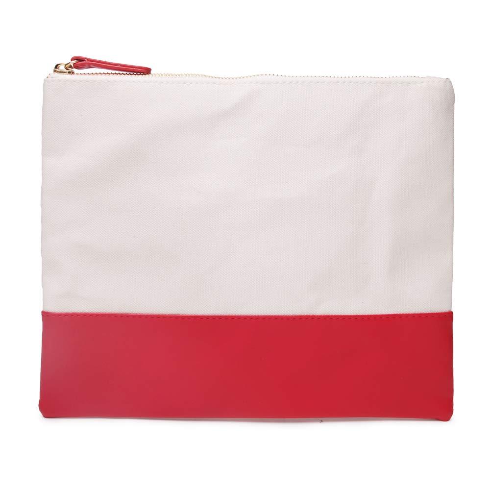 Large Cosmetic Bag, Minimalist Ipad Makeup Bag Cotton Canvas DIY Envelope Purse Multi-use Tablet Handbag