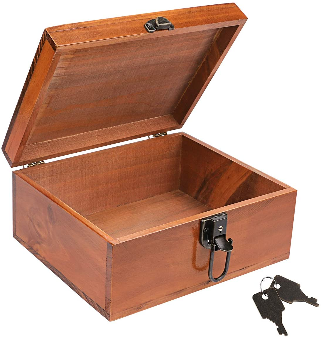 Wooden Keepsake Box, Dedoot Decorative Wooden Box Vintage Handmade Wood Craft Box with Lock and Key for Jewelry Gift Storage Box and Home Decor, Brown, 9.3x7.6x4.5 Inch
