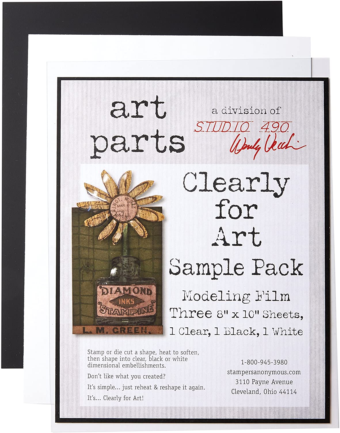 Wendy Vecchi Cleary for Art Sheets Sample Pack 3/Pkg-Clear, Blackout, Whiteout, 8X10