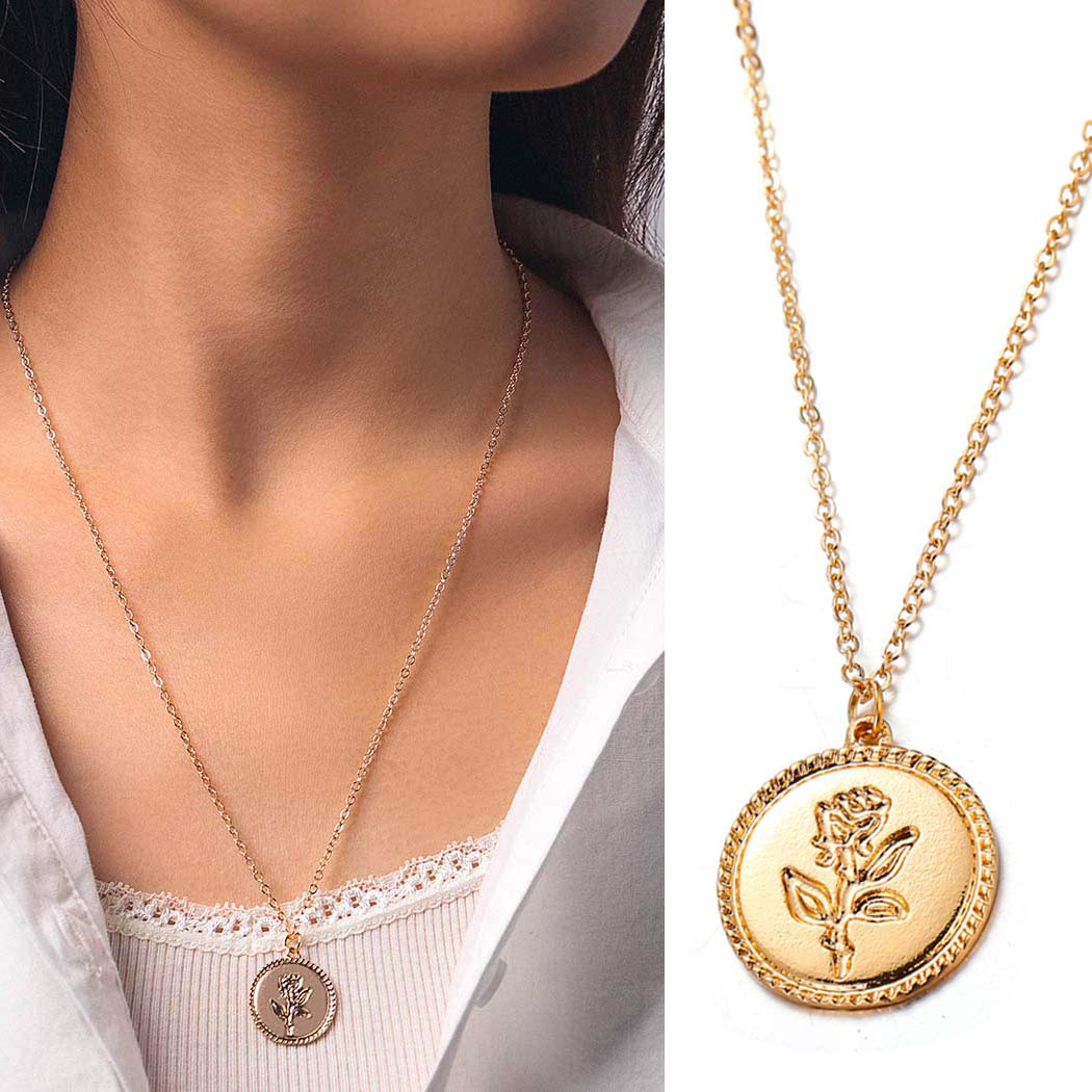 Bmirth Simple Coin Pendant Necklace Flower Necklaces Chain Vintage Round Rose Necklace Jewelry for Women and Girls