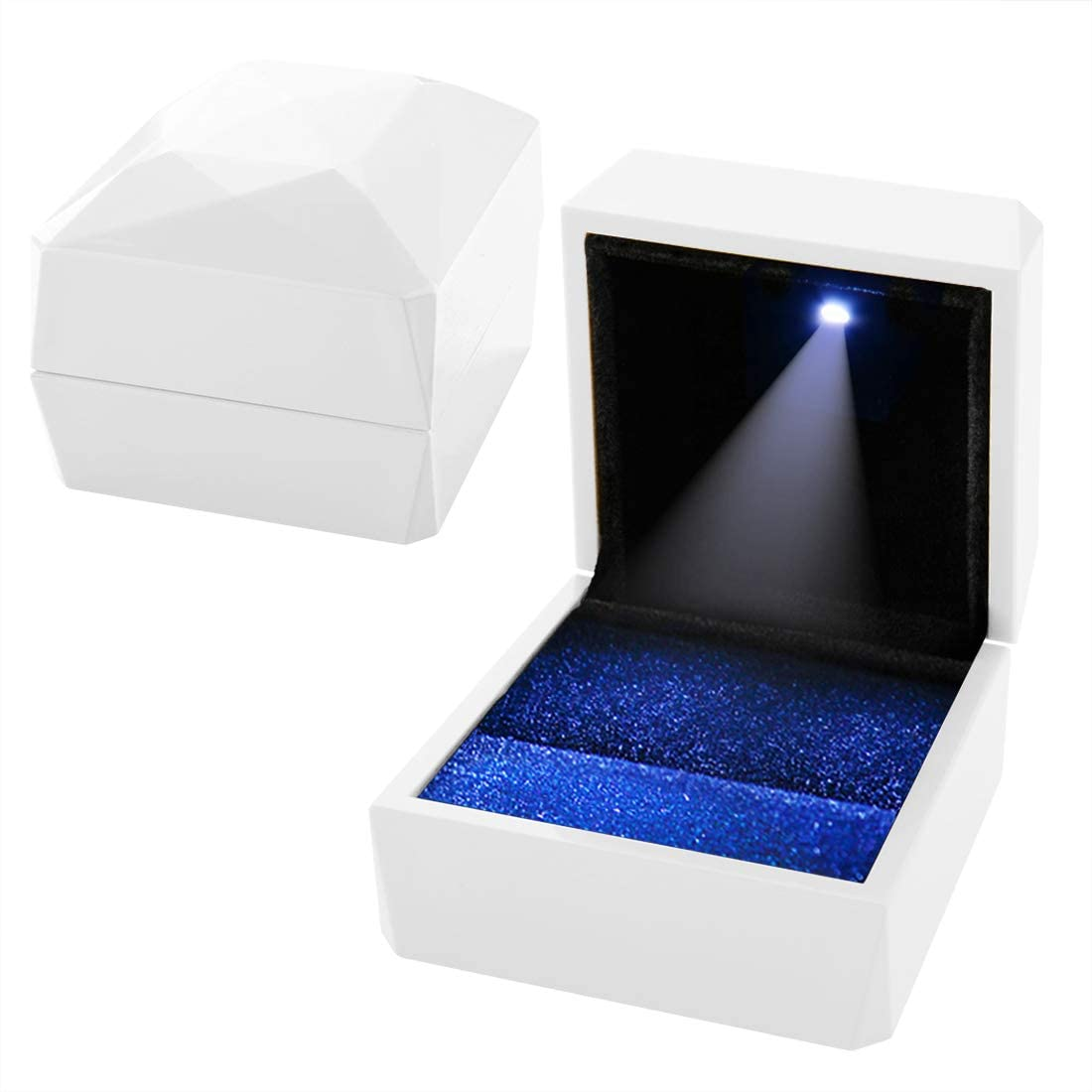 CHRUNONE Led Ring Box for Proposal, White Engagement Ring LED Light Ring Box Jewelry Gift Box, LED Light Jewelry Display Gift