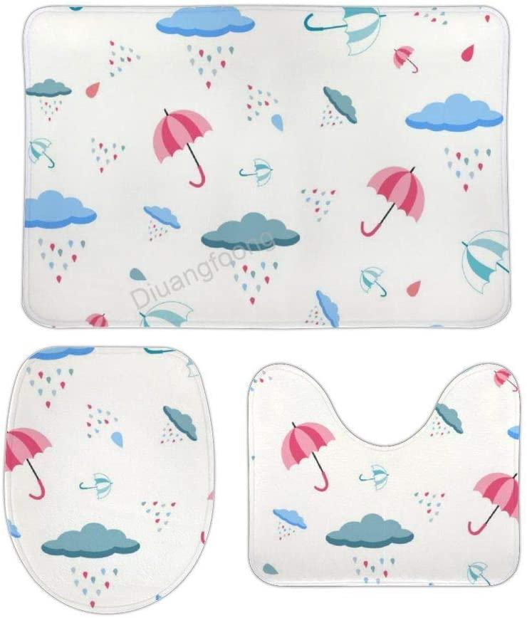Bathroom Bath Mat 3 Piece Set Digital Raindrops Non-Slip Pedestal Rug + Lid Toilet Cover + Bath Mat Set