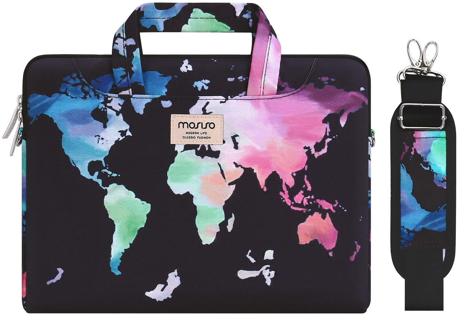 MOSISO Laptop Shoulder Bag Compatible with 2019 MacBook Pro 16 inch, 15 15.4 15.6 inch Dell Lenovo HP Asus Acer Samsung Sony Chromebook, World Map Carrying Briefcase Sleeve with Trolley Belt