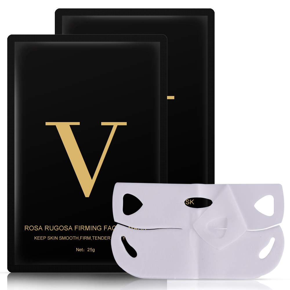 V Line Lifting Face Mask, 2 Pcs Chin Up Tightening Patch, Double Chin Reducer Intense Lift Layer Mask, V Shape Slimming Facial Neck Mask, V Line Firming Moisturizing Tape Mask for Face and Neck Lift