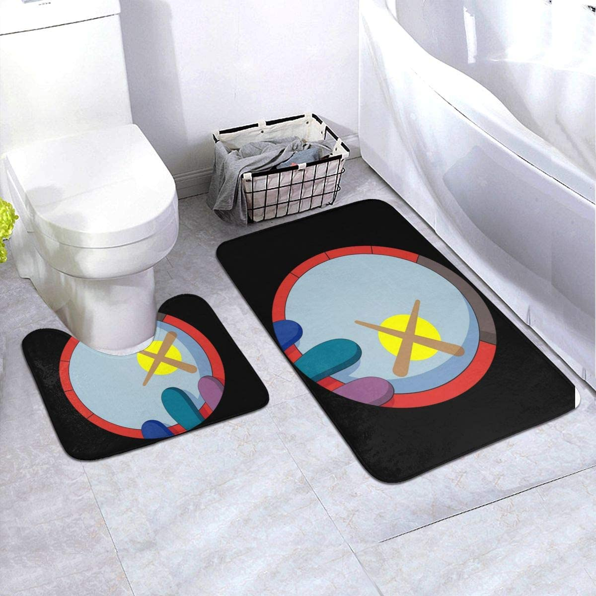 KAWS Bathroom Rug Mats Set 3 Piece Anti-Skid Pads Bath Mat + Contour + Toilet Lid Cover Bathroom Antiskid Pad 19.5in X 31.5in