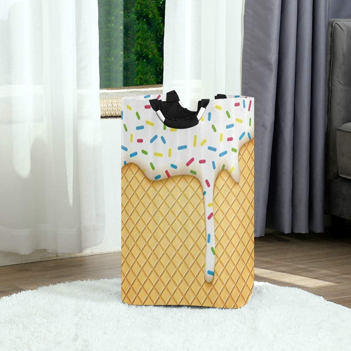 DAOPUDA Laundry Bag Food Cartoon Like Image of and Melting Ice Cream Cones Colored Sprinkles Artistic Print Large Laundry Hamper Bags for Heavy-Duty Use with Strap,Clothes Basket for Dorm Bathroom