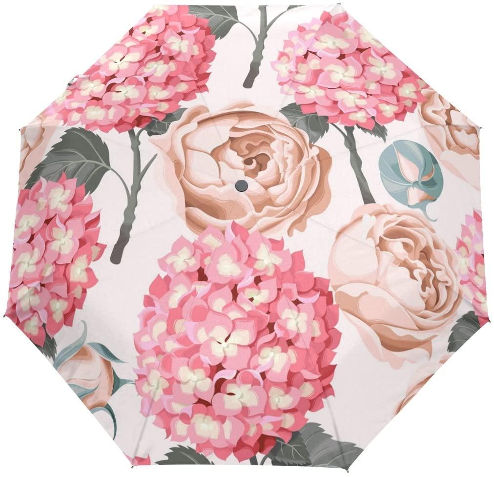Vipsk Folding Umbrella Red Flowers are White Travel Umbrella Windproof Automatic Compact Rain Travel Umbrella,Lightweight,Auto Open/Close