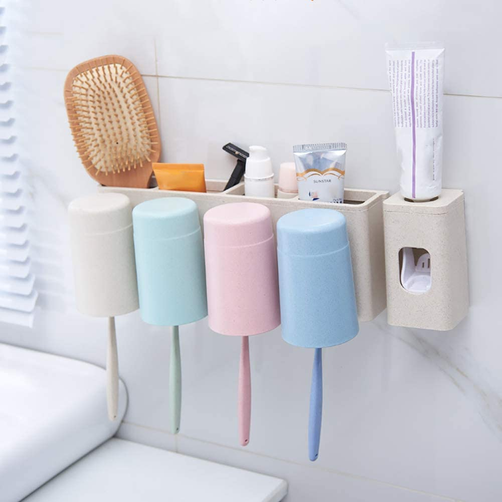 BTASS Wall Mounted Toothbrush Holder with Toothpaste Dispenser,Toothbrush Organizer with 4 Cups Easy to Install Without Drilling, Environmentally Friendly Material